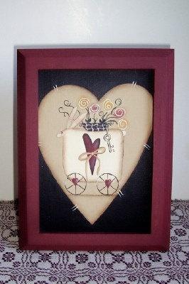 Primitive Valentine Heart Canvas Bunny HandpaintedSTLC by Primgal: Prim Painting, Primitive Canvas Painting, Heart Canvas, Primitive Palette, Valentine Heart, Primgals Primitive, Craftshow 2015, Craft Ideas, Primitive Valentine S