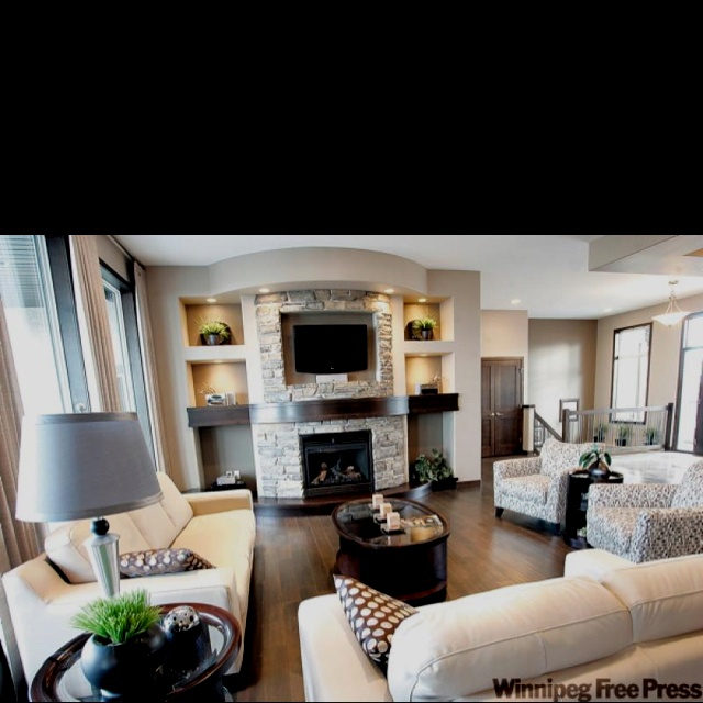 Love this fireplace : Fireplace Idea, Living Rooms, Mantel Halfway, Livingroom, Drywall, Brick, Alcove, Stone Fireplaces