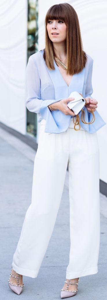 Baby Blue  V-Neck Blouse and White wide Leg Pants | Valentine 's Day Outfit idea | Margo & Me
