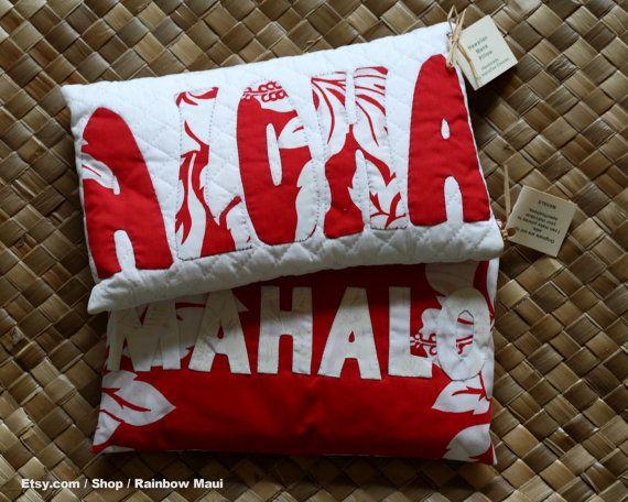 Hawaiian language Pillow ALOHA, Decoration pillow, Small cushion, Hand made on Maui, Hawaiian quilt method