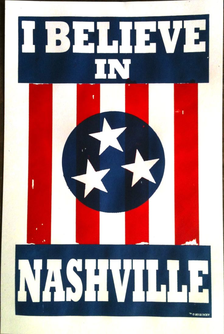 """I BELIEVE IN NASHVILLE is a symbol for Nashville, native or newcomer. This is Nashville for Nashville. A simple, familiar color combination of red, white, and blue, and a message that doubles as irrefutable statement. We are a great city because we are one city.   This is a 12""""x19"""" poster."""