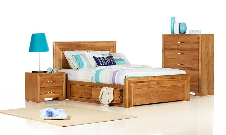 Sorrento Queen Size Timber Bed | Bedshed Compartment under bed storage though, and not sure about red colour of timber