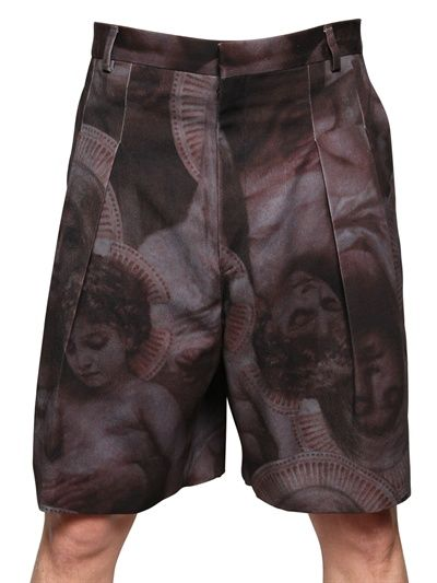 GIVENCHY - MADONNA AND CHILD COTTON TWILL SHORTS - LUISAVIAROMA - LUXURY SHOPPING WORLDWIDE SHIPPING - FLORENCE