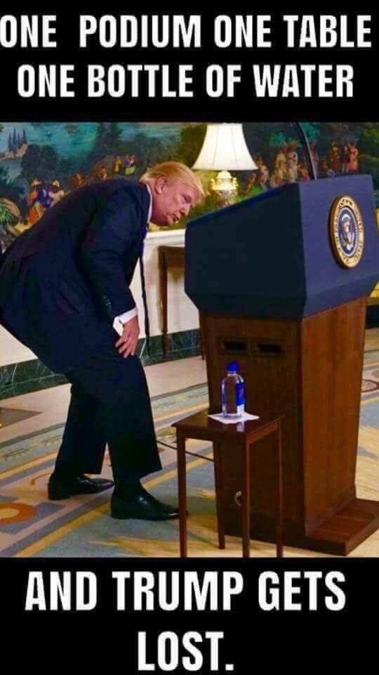 Definitely has Alzheimer's, he can't find the water bottle that's right next to his podium