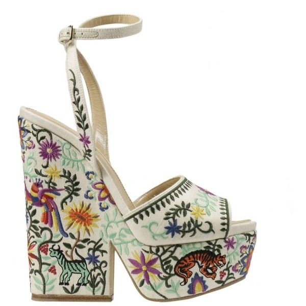 Sergio Rossi Wedges ($520) ❤ liked on Polyvore featuring shoes, sandals, heels, yellow cream, cream sandals, wedge sole shoes, cream wedge shoes, sergio rossi sandals and yellow shoes