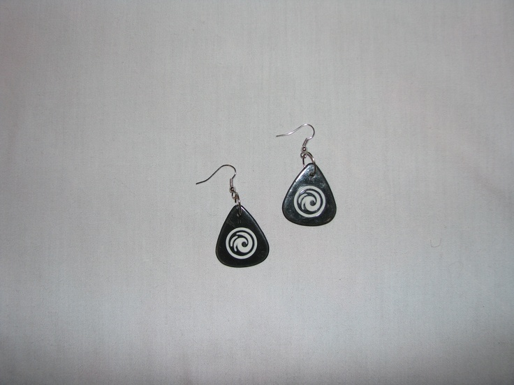 Guitar Pick Earrings    http://www.facebook.com/pages/Ebb-and-Flow-Custom-Jewellery/534531073247136
