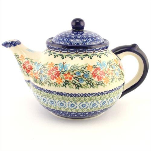 Tea pot - Polish pottery - This beautiful hand decorated ceramic teapot can be used in dishwasher, microwave and oven every day. - Tato krásná ručně zdobená keramická konvice je vhodná pro denní používání v myčkách, mikrovlnných i pečících troubách.
