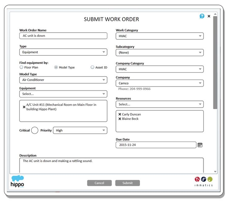 Work Order Management Hippo Cmms Uses Simple Work Order Forms To