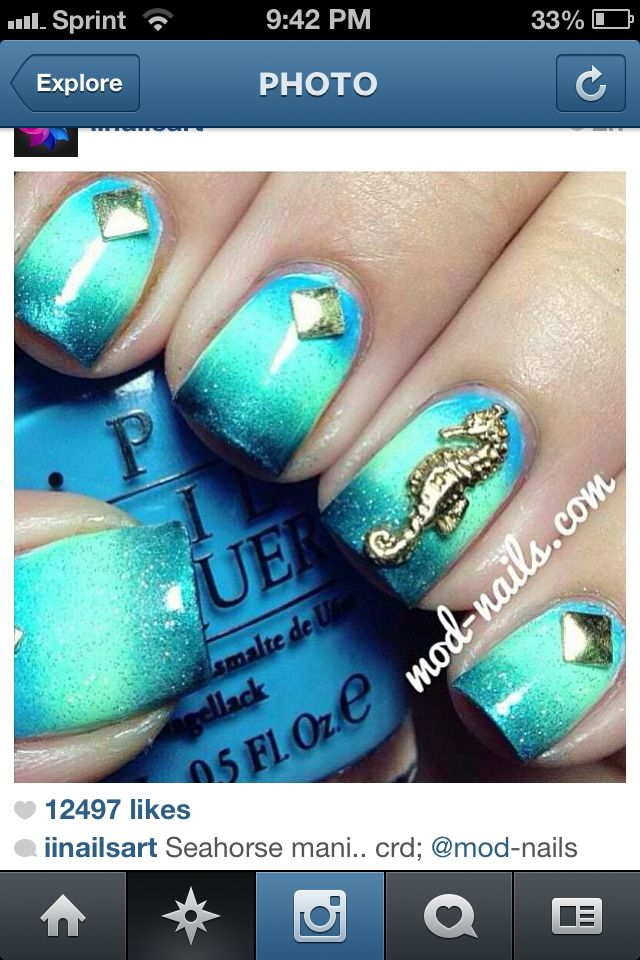 30 best sea horse nails & nail art designs by nded images on ...