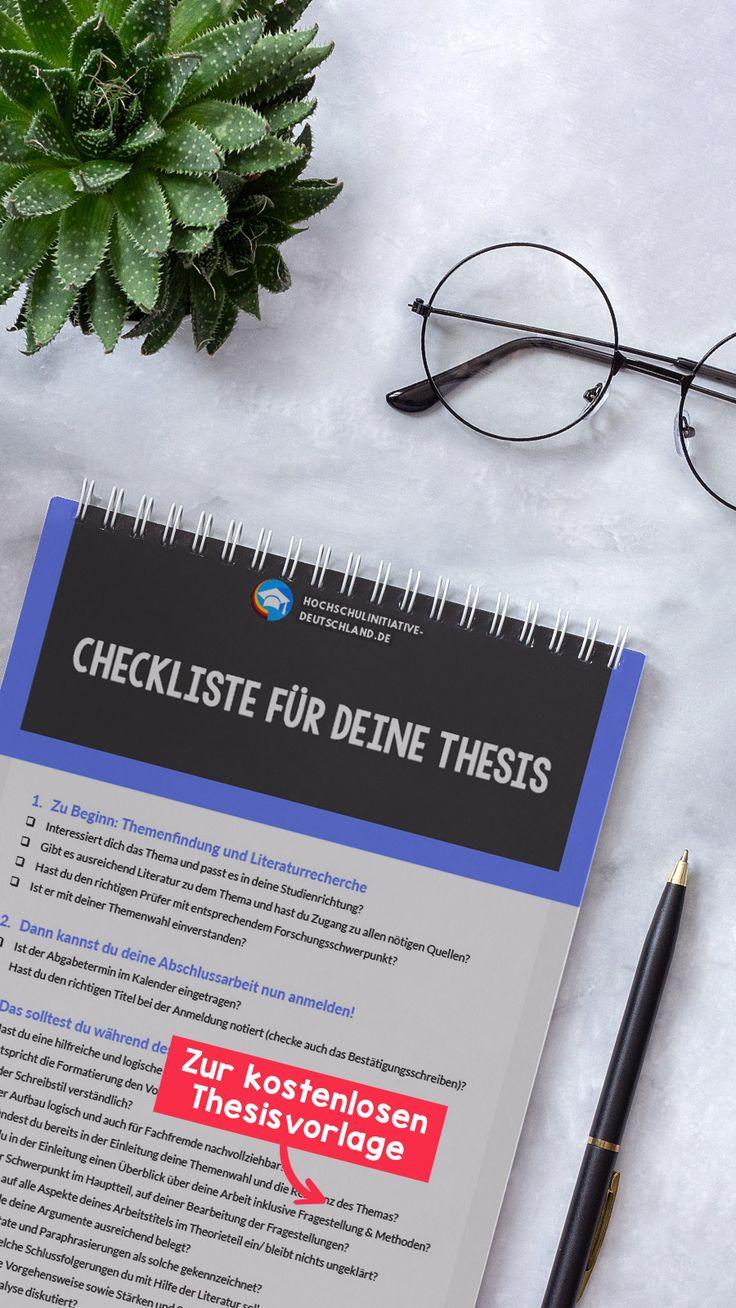 Lade Dir Jetzt Unsere Checkliste Und Vorlage Fur Deine Thesis Kostenlos Runter Checkliste Vorlagen Wissenschaftliches Schreiben