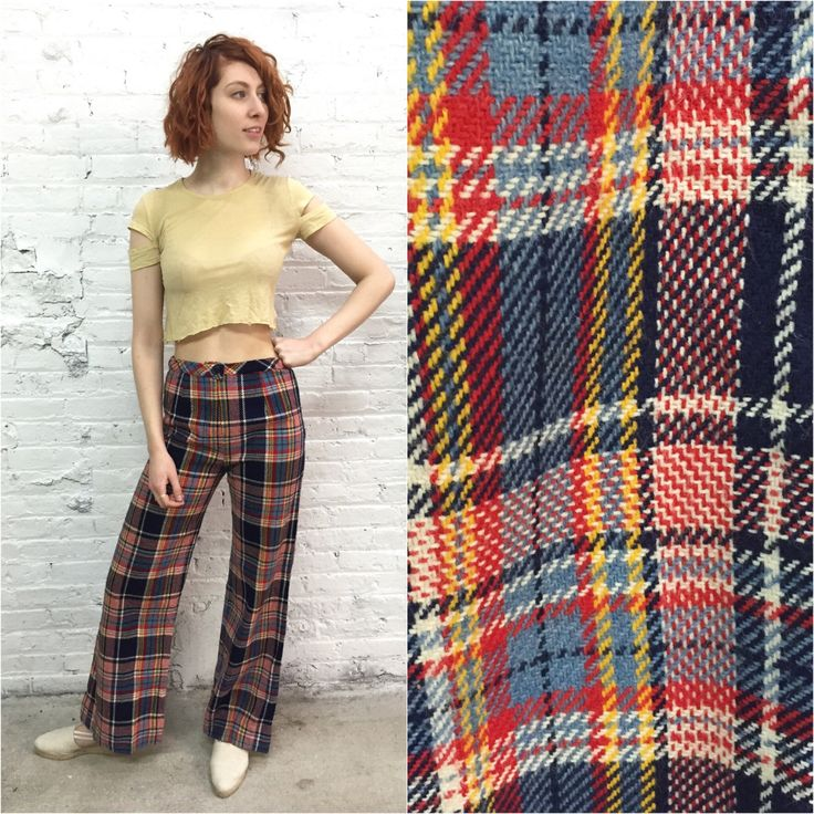 vintage 70s wide leg plaid pants / Bobbie Brooks tartan flared ...