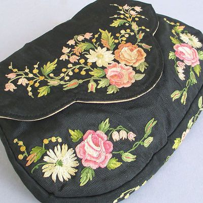 Antique French Purse Point de Beauvais Embroidery Roses Lilies of The Valley | eBay