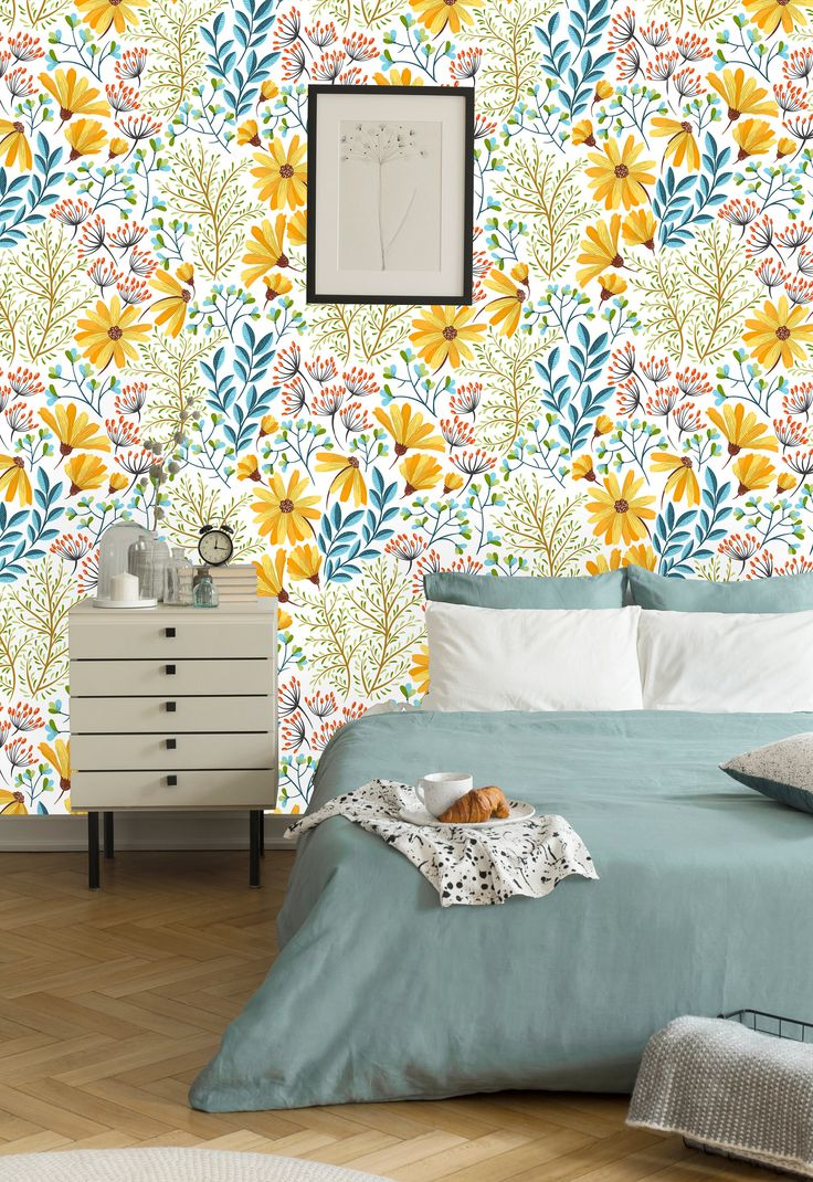 Yellow Spring Flowers Removable WallpaperPeel and Stick