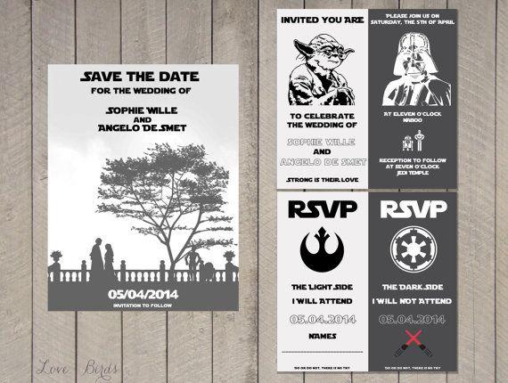 Wedding invitation Set Star Wars  Save the door SophiesLoveBirds on Etsy #Wedding #StarWars #nerdy