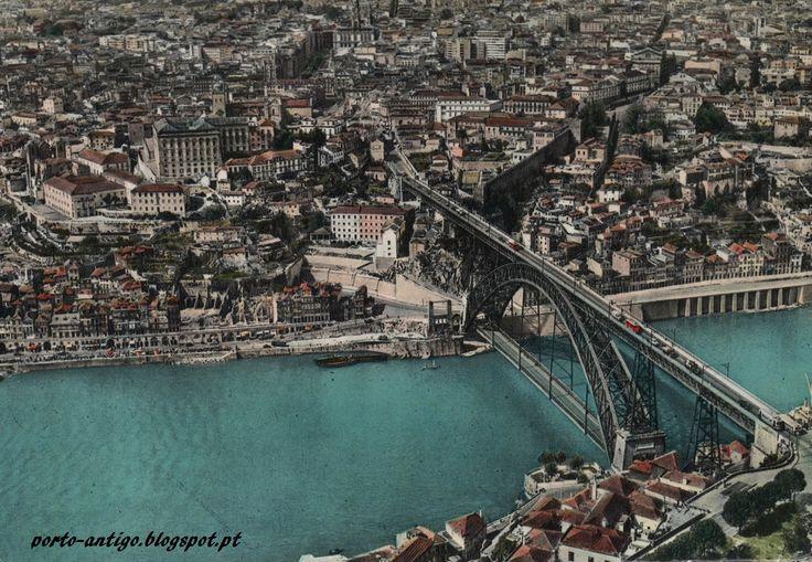 PORTO vista aérea anos 1960 - Postal antigo - PORTUGAL OPORTO