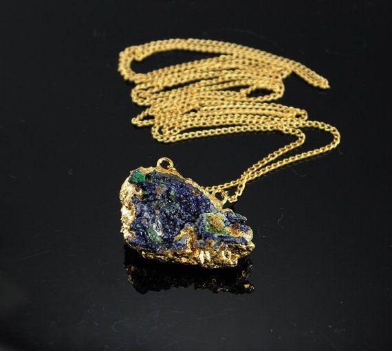 Raw Denim Azurite Malachite Statement Necklace Rough by minakaja, $49.90