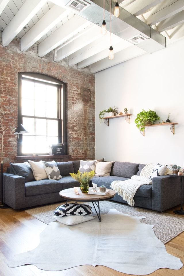 A Young Couple S Williamsburg Industrial Apartment Still Cozy Though Still Cozy Industrial Apartment Decor Industrial Decor Living Room Home Living Room Living room ideas young couples