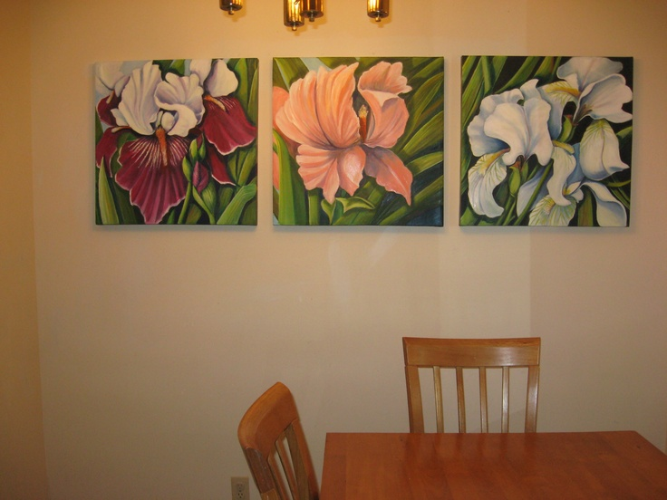 Iris Trio 6 ft by 2 ft. Oil on canvas  in a dining room.