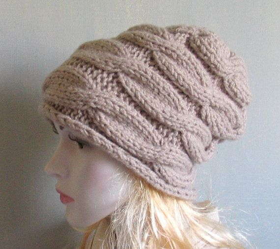 Womens slouchy Beanie hat Knitted Winter Hat  Chunky Knit Hat