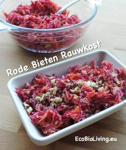 Rode Biet Rauwkost - slaatje met rode bietjes, wortel, appel, noten, vinaigrette