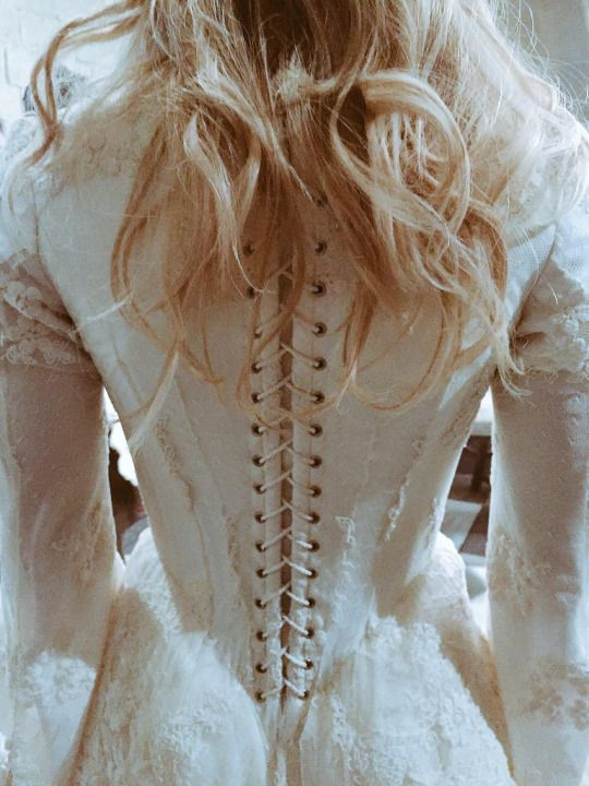 Detailing of the back of Emma Swan's Camelot ballgown