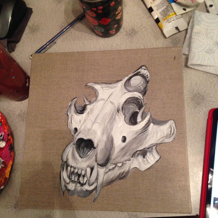 Beginning of my lion skull painting