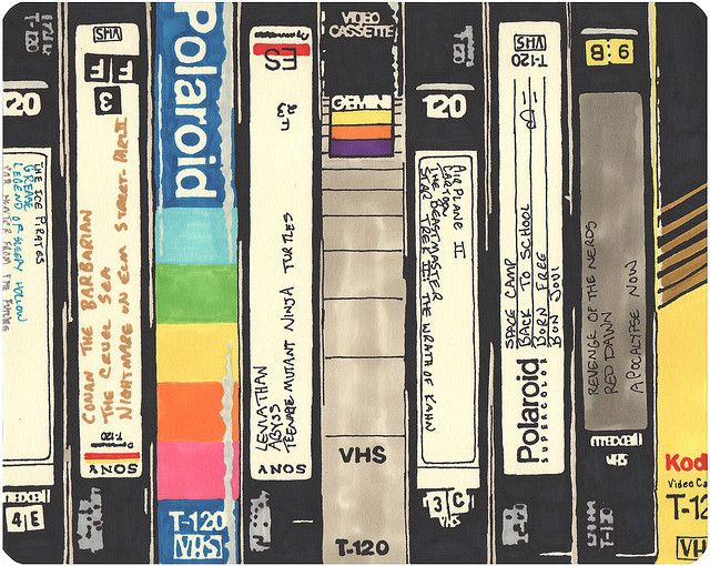 VHS. Did anyone have the cases that looked like library books? An instant library...*cringe*