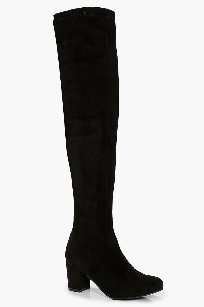 Lena Block Heel Stretch Knee High Boot