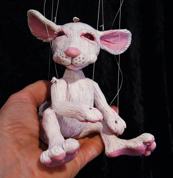 white rabbit marionette, hand-made, OOAK. $75.00, via Etsy.
