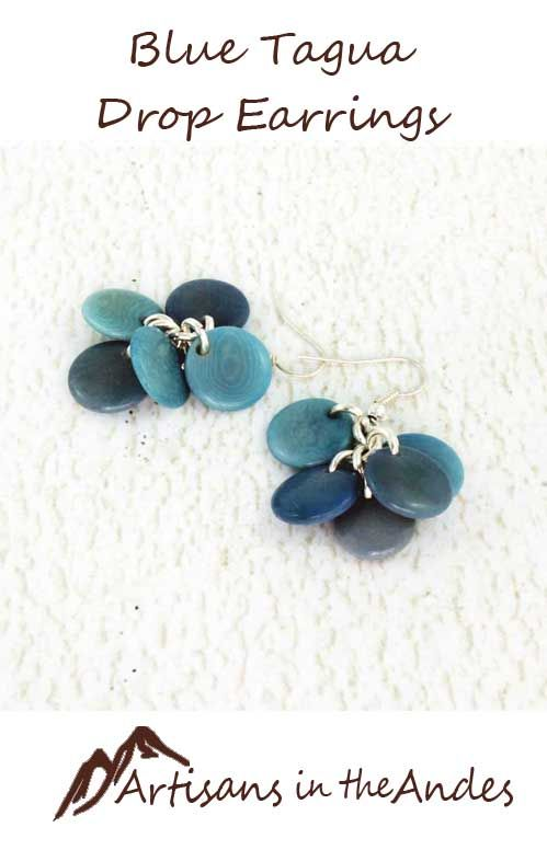 These darling beaded earrings will be a gorgeous complement to a casual outfit with jeans and perhaps a white shirt. These earrings are made from eco-friendly tagua nut, dyed light blue. #fairtrade #fairtradefashion #fairtradejewelry #fairtradegifts