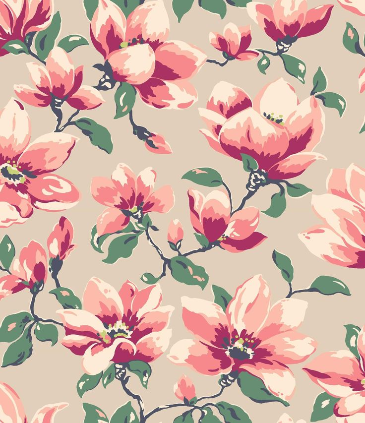Magnificent magnolia blooms drawn with a streamlined style and colour palette take centre stage in this striking design