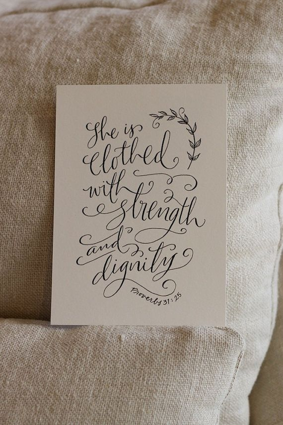 Proverbs 31 25   Hand Lettered Scripture Print   Bella Scriptura Collection from Paperglaze Calligraphy