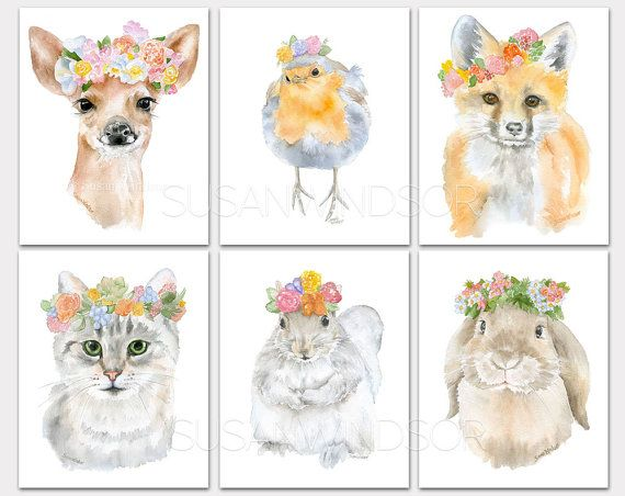 Watercolor Animal Floral Art Prints - Set of 6 - Deer Robin Fox Cat Squirrel & Bunny - Nursery Childrens Room PORTRAIT-Vertical Orientation
