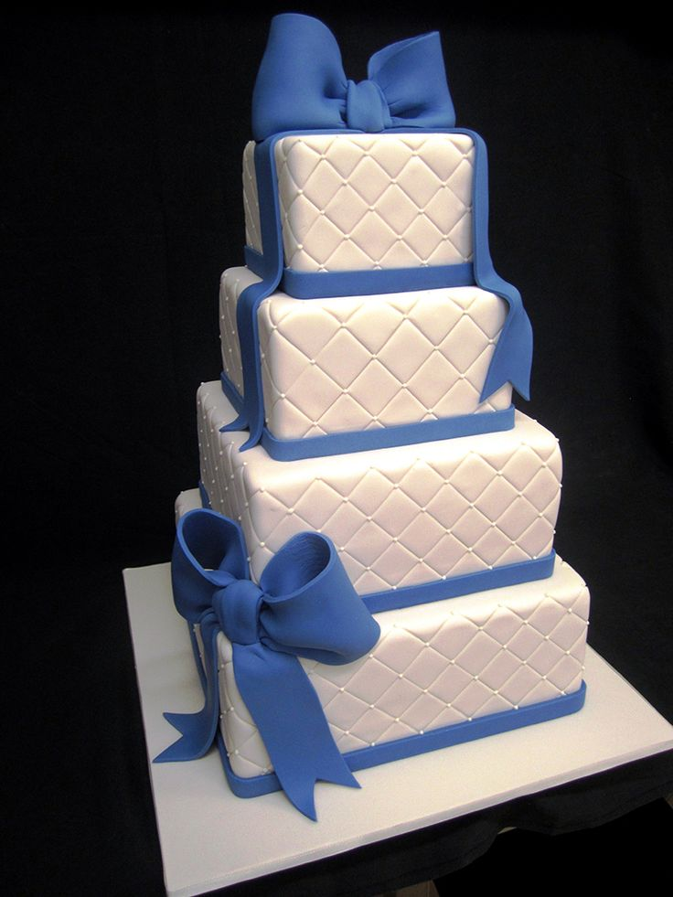 Blue Bows and Quilted #Wedding #cake