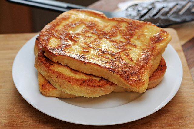 Eggy bread - eggs, butter, salt and pepper - NO POWDERED SUGAR!!!!