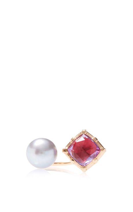 Red Bella Open Ring with Pearl by Larkspur & Hawk - Moda Operandi