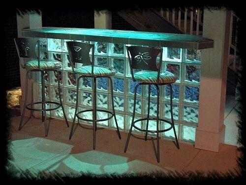 Glass brick bar at night