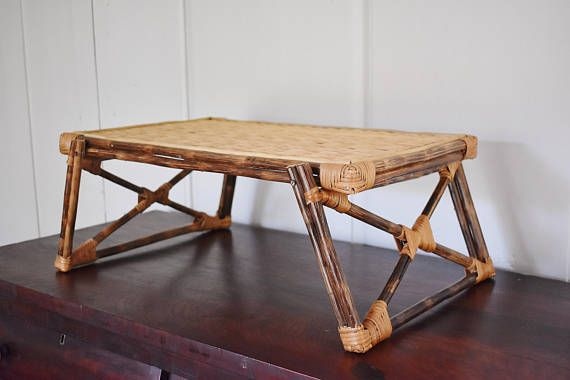 Bamboo and Wicker Lap Tray Woven Wicker Rattan Folding Bed