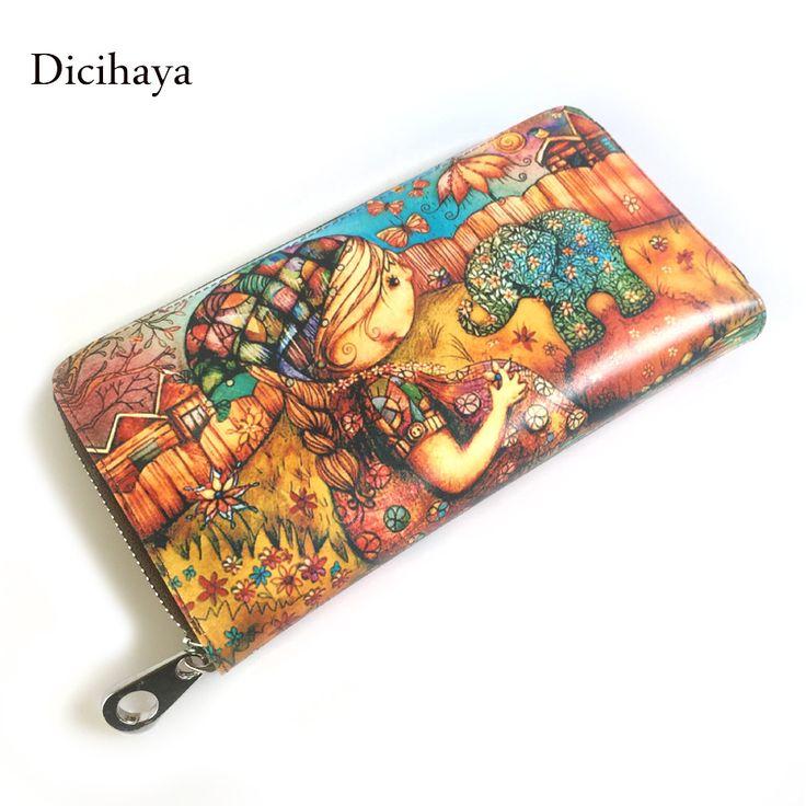 Genuine leather Brand Design Women Wallets Ladies Clutch Hand Bag Famous Brands Woman Cartoon printing Purse Long Female Wallet