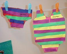 Zwemkleding aan de waslijn: Gebruik de mal van het zwembroekje en zwempakje. Laat de kinderen al metend stroken knippen en deze op volgorde opplakken.