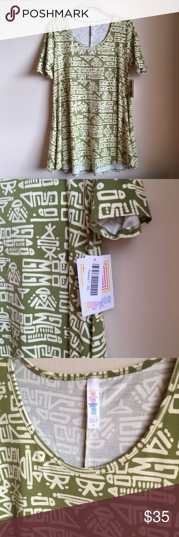 {LULAROE} Green Aztec Perfect T Lularoe Perfect T - BNWT - XS - Green with Cream colored Aztec Pattern. Last photo is the Lularoe size chart for this shirt style. I am not a consultant but have been on a Lularoe shopping spree lately - trying styles and sizes. Some things didn't match what I thought they would or the patterns/fit didn't look good on me so I'm selling them here. LuLaRoe Tops Tees - Short Sleeve