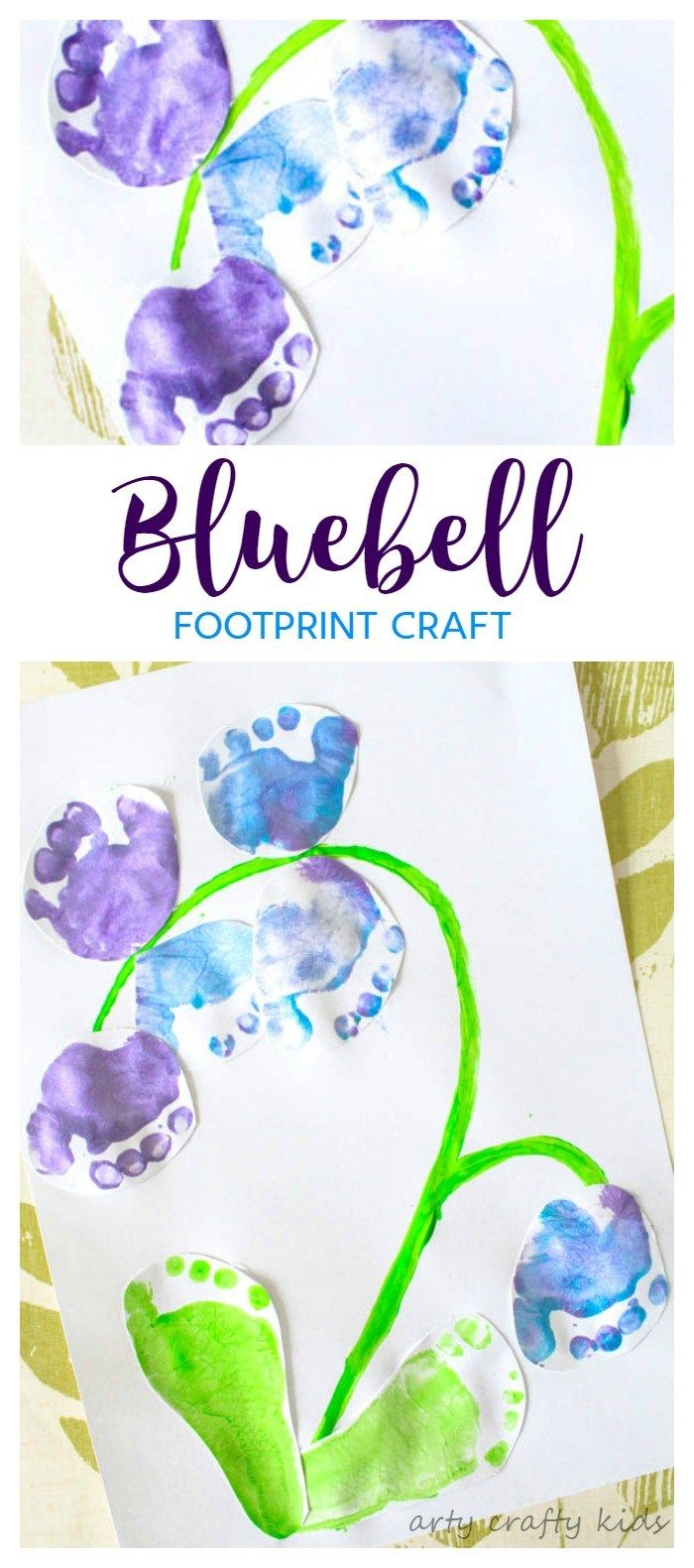 Arty Crafty Kids   Art   Bluebell Footprint Art   A cute Spring craft for kids, using little tooties and feet to make a gorgeous bluebell!