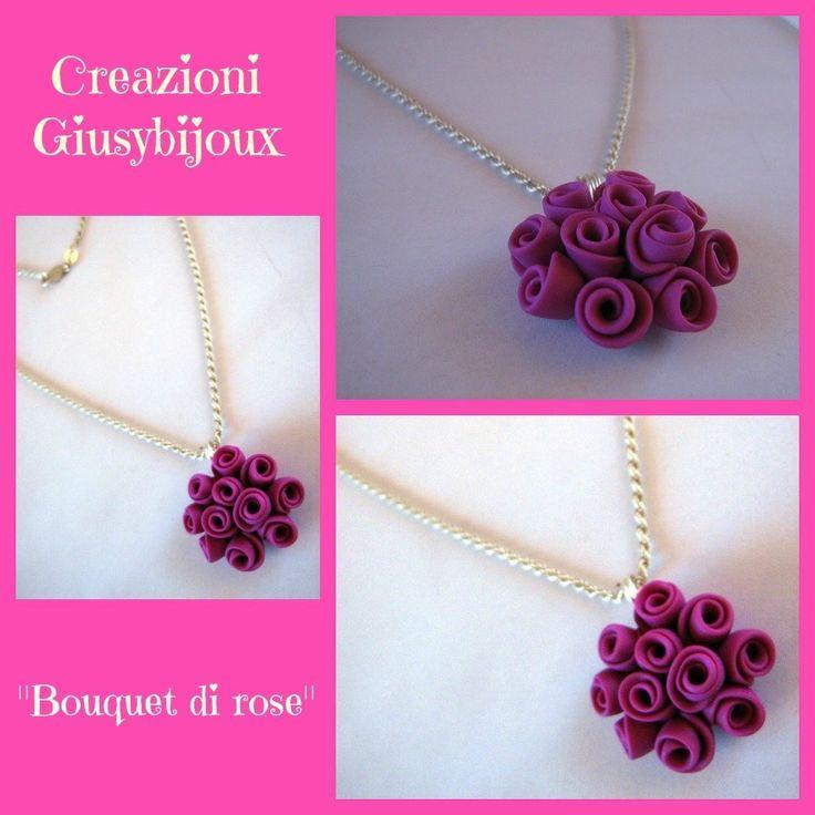 Collana con ciondolo floreale bouquet di roselline rosa fuxia in fimo fatto a mano, by Creazioni Giusybijoux, 12,00  su misshobby.com