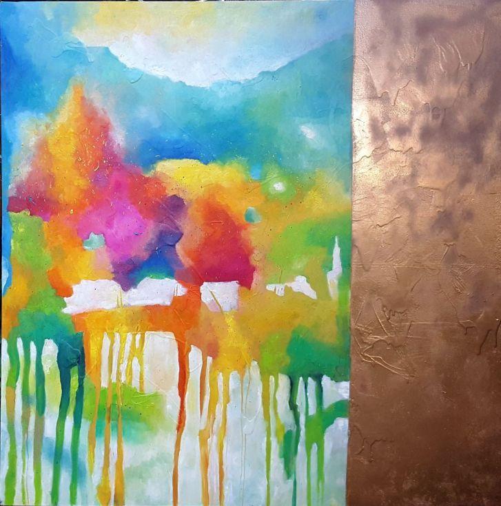 Buy Fragrance of flowers (140x140cm), Oil painting by Simon Tünde on Artfinder…