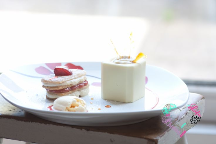 Rhubarb and Strawberry mille feuille with a strawberry sauce and chocolate pot