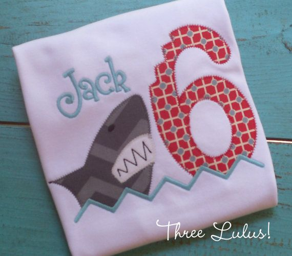 Shark Birthday Shirt Appliqued Embroidered Custom Personalized Monogrammed First Second...