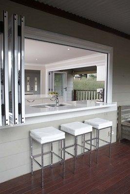 outdoor to indoor kitchen bar