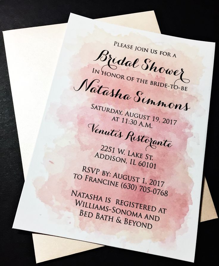 pink black and white bridal shower invitations%0A Watercolor Bridal Shower Invitations  Bridal Shower Invites  NATASHA  VERSION PINK Set of
