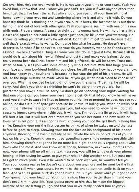 I needed to read this. It makes so much sense. It will hurt but I'm not going to let that stop me. Worth reading if your struggling with a tough break up or even feelings about it.