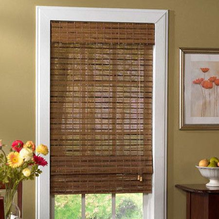 radiance havana bamboo roman shade in pecan window shade option really love this for the living room - Bamboo Window Shades